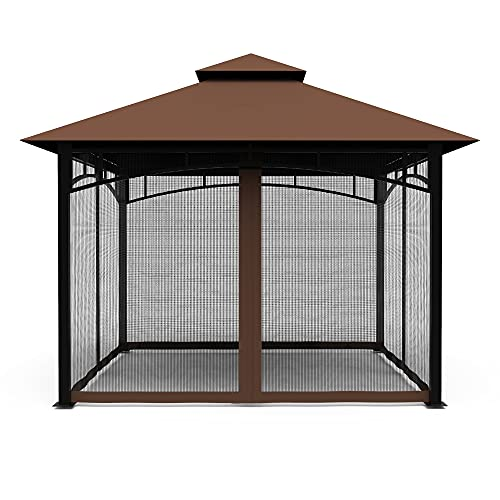 Gazebo Mosquito Netting Screen 4-Panels Universal Replacement for Patio, Outdoor Canopy, Garden and Backyard (Only Netting Sidewalls) (Black, 10' x 12')