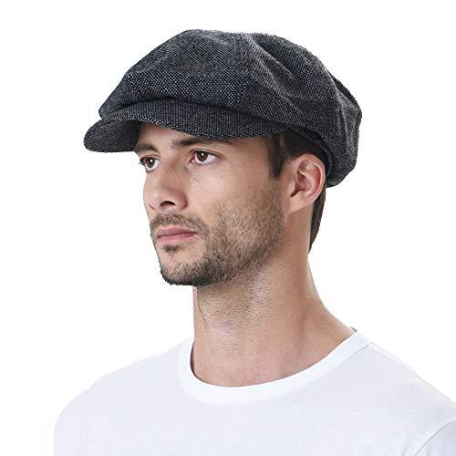 WITHMOONS Sombreros Gorras Boinas Bombines Newsboy Hat Wool Felt Simple Gatsby Ivy Cap SL3525 (Black)
