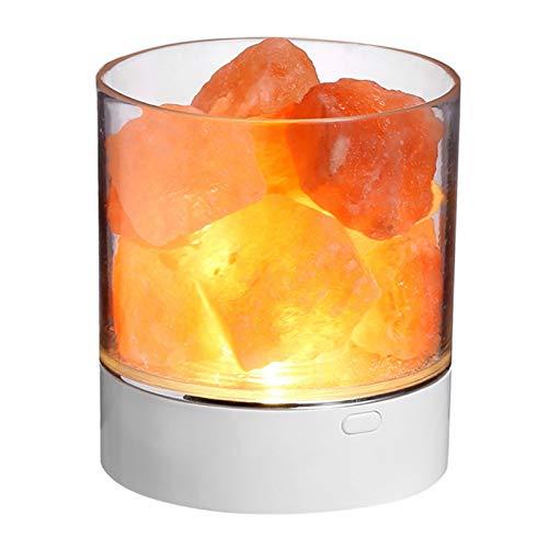 VISLONE Lámpara de sal del Himalaya de cristal natural Lámpara de mesita de noche ajustable de brillo multicolor