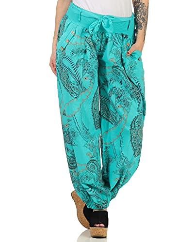 Zarmexx Damen Pumphose Haremshose Sommerhose Aladinhose Strandhose Fantasy-Print Baumwollhose (Einheitsgröße: 36-40, türkis)