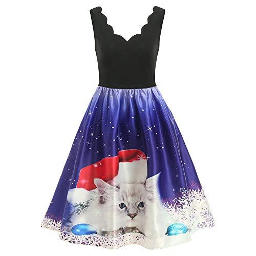 Fenverk Kleid Damen äRmellos Swing Festlich Ballkleid Partykleid Cocktailkleid Knielang Weihnachten Fashion Gedruckt A-Linie üBergrößE Frauen Skater Party MäDchen WeihnachtsbäUme(EIN blaues,2XL)