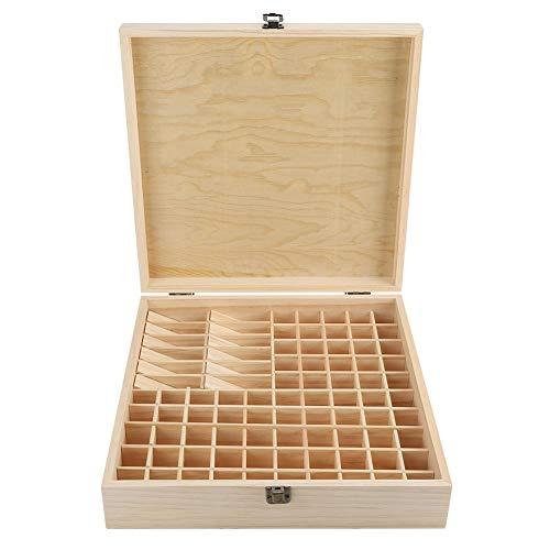 EBTOOLS Olie-houten kist, houten etherische oliën, olieflesjes, opbergdoos met 87 slots, voor thuis en schoonheidssalon, 35,5 x 35,5 x 9,2 cm