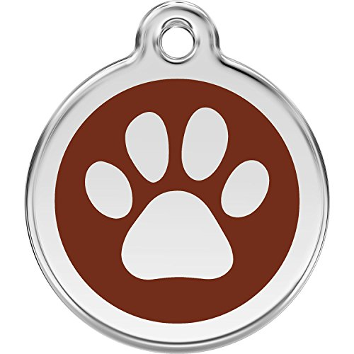 Red Dingo Personalized Paw Print Pet ID Dog Tag (Medium Brown)