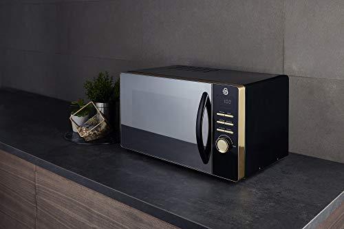 41SbJN5jBTL - Swan Gatsby Black and Gold 800W Digital Microwave, 23 Litre, Digital Display, Variable Power Settings, Auto Cook Menu…