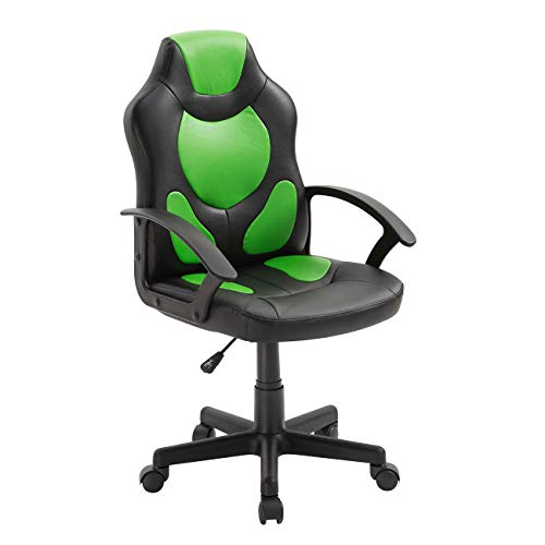 Techni Mobili Kid's Gaming Chair with Wheels, Green chair gaming green