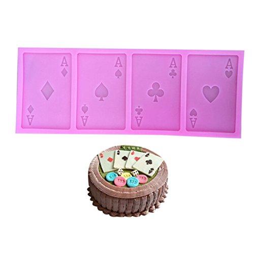 ODN Ein Poker Karten 3D Form Silikonform Muffins Backform 4 x Ass (Herz, Pik, Kreuz, Karo) für Schokolade,Kuchen-Fondant Deko