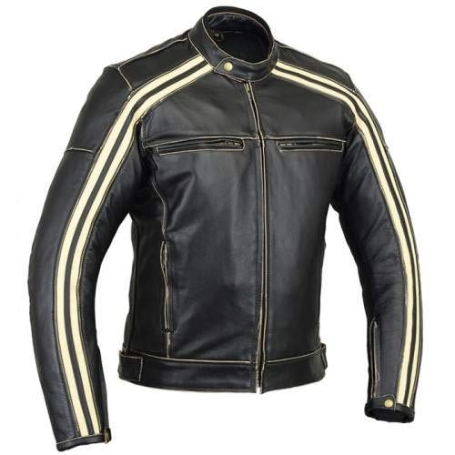 Australian Bikers Gear  Retro Style 'The Bonnie' - Chaqueta de moto, Negro / Blanco, 2XL