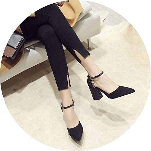 Get-in Dress Shoes High Heels Boat Shoes Wedding Shoes Pointed Toe Thick Heel Buckle Pumps,Black,15
