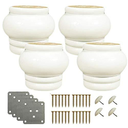 Yuany 4 stuks massief houten poten voor tafels, stoelen, kasten, salontafels, tv-kasten, met accessoires (zwart)