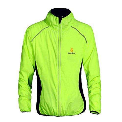 menolana Jaqueta masculina feminina de ciclismo à prova de vento, respirável, leve, refletiva, quente, resistente à água, MTB Mountain Bike Jacket - Verde, XGG