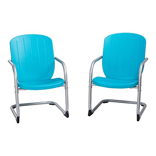 Lifetime 60161 Plastic Retro Outdoor Patio Chairs, Comfort Contoured Polyethylene, 2 Pack, Blue