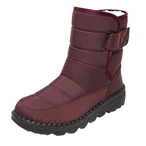 Stivali Donna Stivaletto Corto Outdoor Inverno Scarpe Calde Stivali da Neve alla Caviglia (38,Rosso)