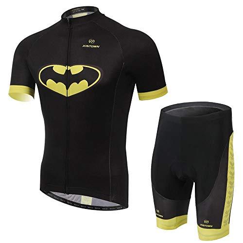 weyb Maillot De Cyclisme Respirant à Séchage Rapide pour Hommes/Femmes Unisexes/Cyclisme Vélo Vélo Cycle Vélo Vêtements équitation Cuissard à Bretelles Batman Jersey Ensemble A-M