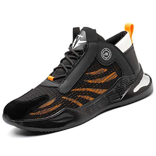 [JUDBF] 安全靴 スニ一カ一 作業靴 軽量 あんぜん靴 おしゃれ スニ一カ一鋼先芯 メッシュ 通気性 工事現場 耐摩耗 防刺 耐滑 ワークシューズ セーフティーシューズ780Orange/43
