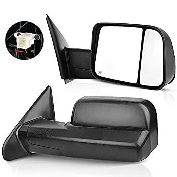 ECCPP Towing Mirrors Tow Mirrors Replacement fit for 2002-08 for Dodge Ram 1500 2500 Pickup Power Heated Towing Side Mirrors Pair Set Passenger & Driver Side View
