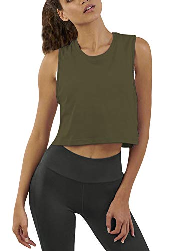 Mippo Crop Workout Tops for Women Cropped Muscle Tank Sleeveless Workout Shirts Flowy Sports Gym Tank Tops High Neck Workout Crop Tops Loose Fit Army Green XS
