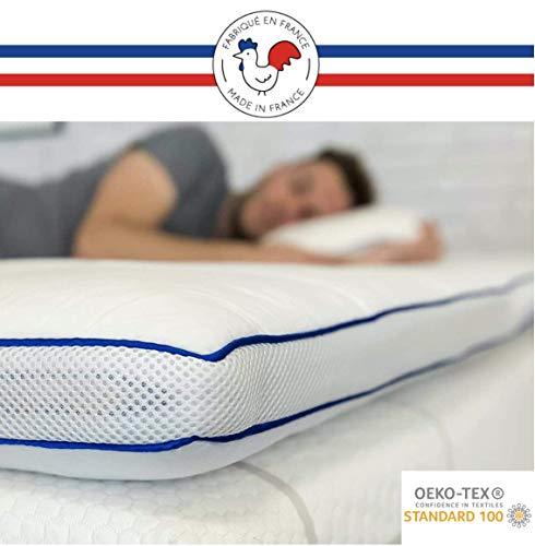 RESTBULLE Surmatelas de Confort Moelleux 90x190 cm - Qualité Hôtellerie - Production Française - Epaisseur Totale de 7 cm - Enveloppe Amovible et Lavable - Certifié Oeko-Tex