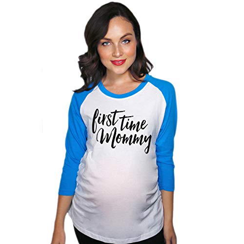 Crazy Dog Tshirts - Maternity Raglan First Time Mommy Cute Mothers Day Baseball Tee (Royal) - S - Femme