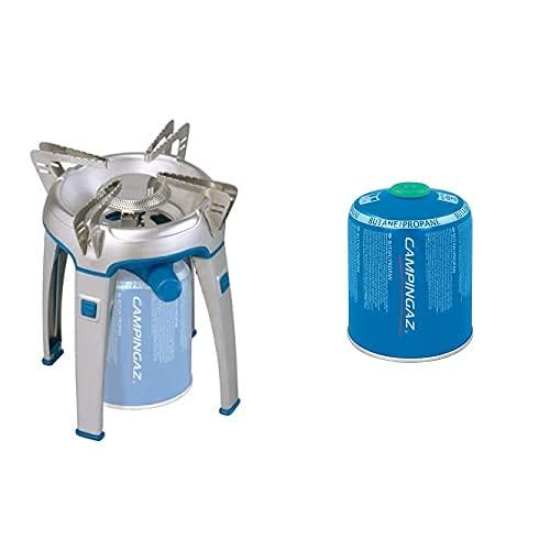 Campingaz Bivouac - Hornillo Portátil Para Acampada, Color Azul + Cv 470 Plus Easy-Clic Cartucho Gas Con Valvula, Para Cocina Camping, Compacto Y Recipiente Sellable