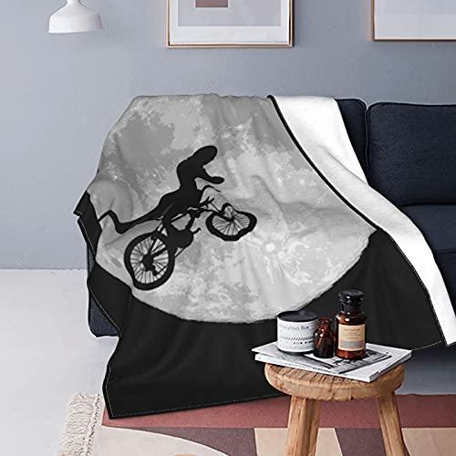 Manta de forro polar con diseño de dinosaurios para bicicleta y luna, manta versátil y suave para cama y sofá, viaje individual, 150 x 100 cm