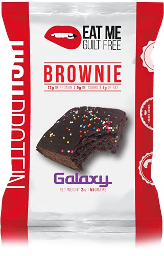 Eat Me Guilt Free Protein Brownie, Low Carb Healthy Snack or Dessert, 22g Protein, Galaxy (12 Count) by Eat Me Guilt Free