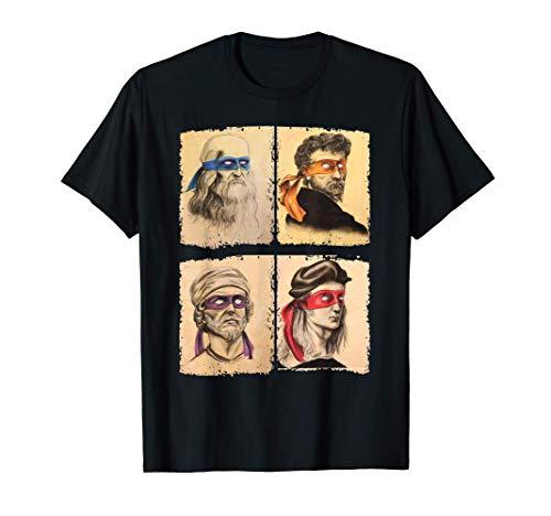 Renaissance Ninja Artists Poster Style Pop Art Maglietta
