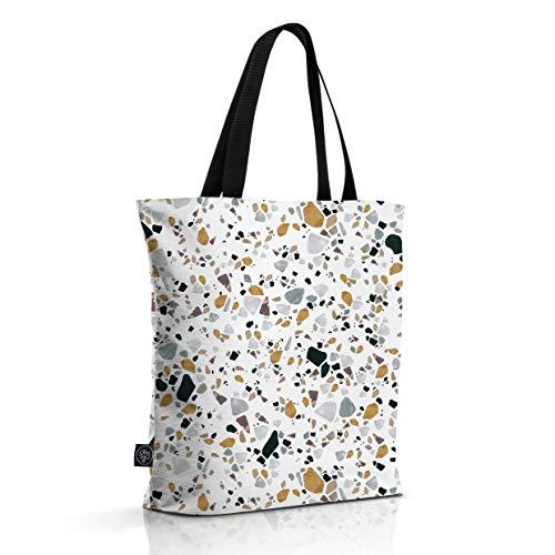 OM YA Design Baumwollbeutel - Einkaufstasche aus 100{391b4c5993a53a1b28c3d9bf9a3f604b6ddf37220fbfdf672e071fc7ae6e5eb9} Baumwolle (Light Terrazzo)