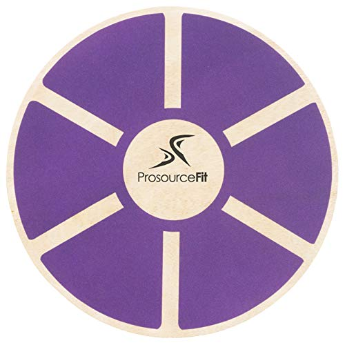 ProsourceFit Wooden Balance Board Non-Slip Wobble Core Trainer 15.75in Diameter with 360 Rotation for Stability Training, Full Body Exercises, Physical Therapy, Purple