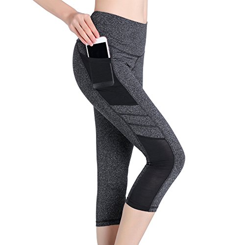 SEYO Yoga Pantalones Mujer Pantalones Deportivos Cintura Alta Leggins Deportivos con Bolsillo (Gris, Small)