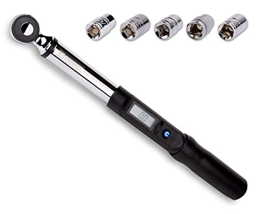 Summit Tools 3/8 inch Digital Torque Wrench, 5-99.5 ft-lbs Torque Range Accurate to ±3% with Socket Set, LCD Display, Calibrated (ES3-135CN)