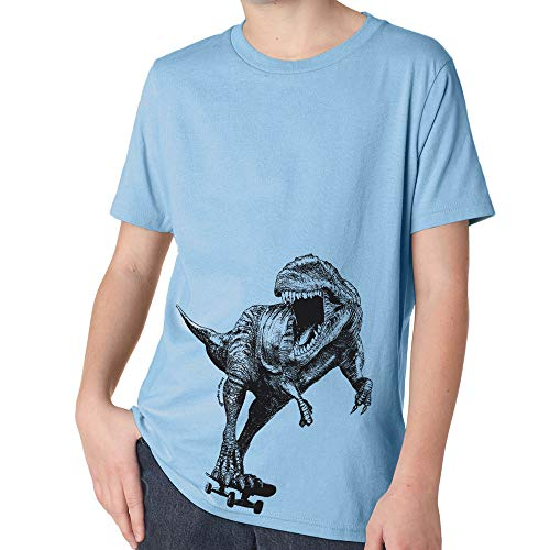 Dinosaur T Shirt for Girls and Boys, Skateboard T Rex (Blue Y, XS Youth)