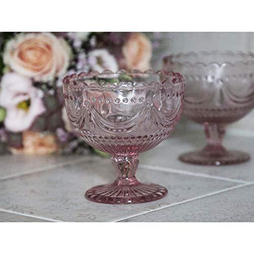 Chic Antique Teller auf Fuß Schale Vase Rosa Spitzenkante Teelicht Glas Vintage Shabby Chic French Chic Landhaus Vintage