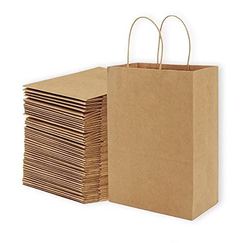"[50 Pack] 10""x5""x13"" Brown Kraft Paper Shopping Bags (Bulk) Super Study Base, Ergonomic Handles, Environmental friendly - Size 10 x 13 inc - Kraft Paper Gift Bags, Kraft Retail Bags, Merchandise Bags"