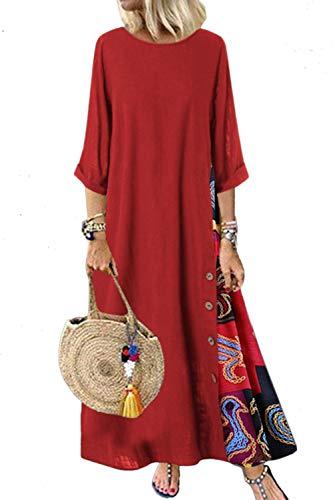 Vestido de Lino para Mujer Medias Mangas Vestido Largo a Cuadros Sueltos Vestidos Largos Rojo 3XL