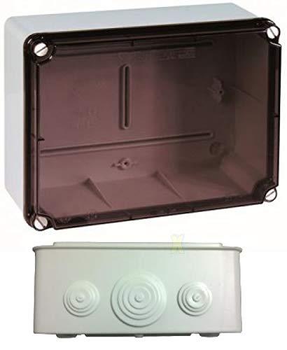 Kunststoff Klemmenkasten mit elastischen Kabeltüllen und Hutschiene (241x180x95 mm, transparent)