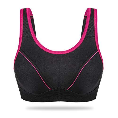 Wingslove Women's Full Figure Sports Bra Bounce Control Wirefree Bra Plus Size Workout Bra (Black,42C)
