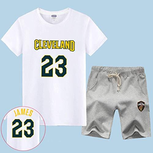 LLSDLS T-Shirt NBA Fan Trikot Set Cleveland Cavaliers Retired Commemorative Kurzarm Herren Sweatshirt James # 23 Basketball Halbarm Sport Set Blau-3-XXXXXL T-Shirt (Color : White-4, Size : XXXXL)