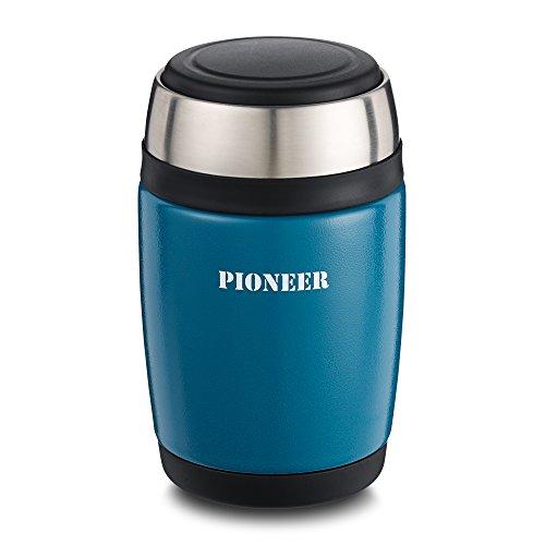 Pioneer Flasks : flasque de soupe alimentaire, étanche, isolée sous vide avec cuillère, Acier inoxydable, bleu métallique, 580ml