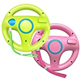 Jadebones 2 Pack Racing Steering Wheel with Wrist Strap for Wii and Wii U Remote Controller (Pink+Green)