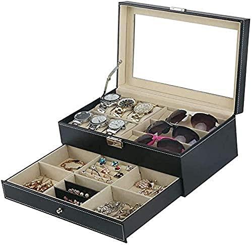 Caja de reloj, reloj de doble capa, gafas, caja de almacenamiento de joyas, caja de almacenamiento de gafas de reloj, caja de almacenamiento de reloj multifunción de joyería