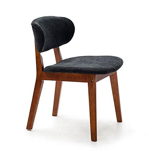 Moderne simple salle à manger chaise en bois massif décontracté, bureau créatif et chaise, chaise de salle à manger nordique, chaise arrière adulte (Couleur : Bleu foncé)