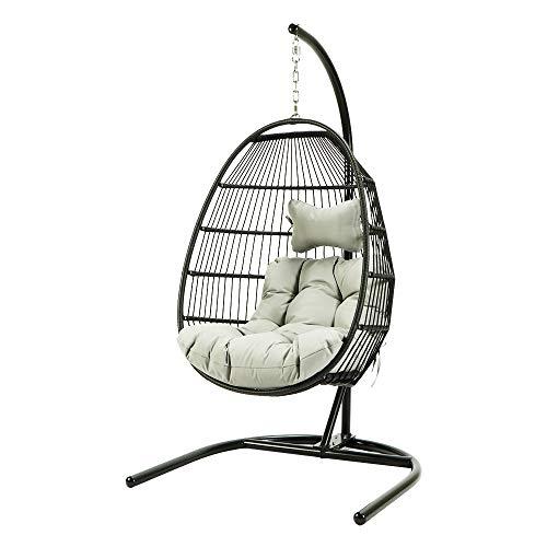 VVEMERK Hamaca colgante con forma de huevo, silla de jardín con soporte...