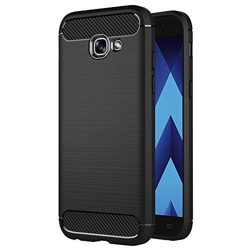 COPHONE - Cover Nero Compatible Samsung Galaxy A5 2017 in Fibra di Carbonio, Antiscivolo. Custodia Galaxy A5 2017 Silicone Molle Black , Anti-Urto