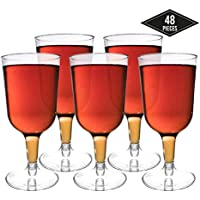 48 Piezas Copas de Vino de Plástico Desechables, Transparente 180ml - Elegante, Resistente y Reutilizable - Perfecto para Catering Fiestas Cumpleaños Bodas Navidad Año Nuevo.