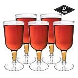 48 Piezas Copas de Vino de Plástico Desechables, Transparente 180ml - Elegante, Resistente y Reutilizable Catering Fiestas Cumpleaños Bodas Navidad Año Nuevo.