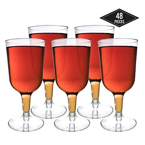 48 Stück Einweg Plastik Weingläser, Transparent 180ml - Elegant, Stabile & Wiederverwendbar - Einwegweingläser aus Kunststoff für Catering Partys Geburtstage Hochzeiten Weihnachten Neujahr.