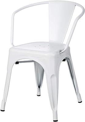 Silla de Acero Blanca de diseño Industrial para Comedor Factory - LOLAhome
