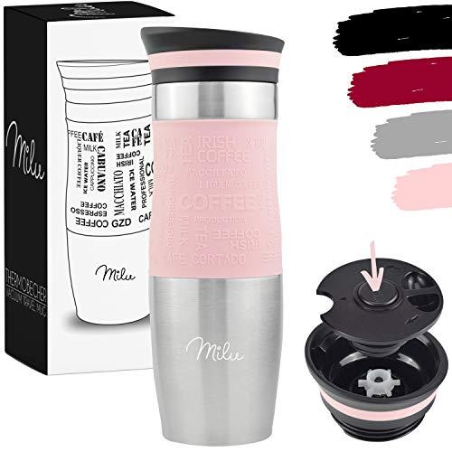 Milu Termo Taza 370ml, 450ml - Vaso Termico de Viaje - Café para Llevar - Taza de Viaje - Taza de acero inoxidable para beber - con aislamiento de doble pared (450ml, Rosa)