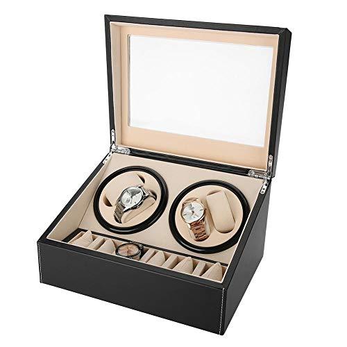 wxf Automatische Rotationsuhr-Wickler Für 4 Automatische Uhren, 6 Armbanduhr-Speicheranzeige (schwarz)