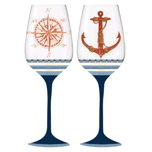 anchor hocking unbreakable wine glasses Ocean Depths Compass and Anchor Wine Glass Set